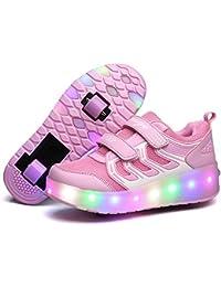 Licy Life-UK Zapatillas con ruedas Doble Ronda Neutra Automática de Skate de Patìn Zapatos Calzado de Deportes de Exterior Para Niñas Niño Pequeños