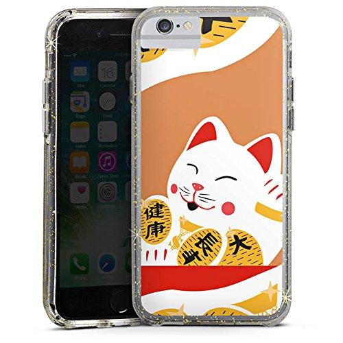 Apple iPhone 6s Bumper Hülle Bumper Case Glitzer Hülle Japan Katze Cat Bumper Case Glitzer gold