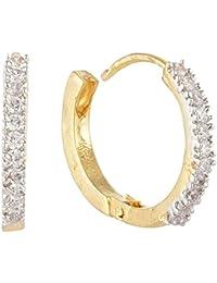 SKN Silver And Golden American Diamond Hoop Ear Clip Bali Earrings For Women & Girls (SKN-3317)