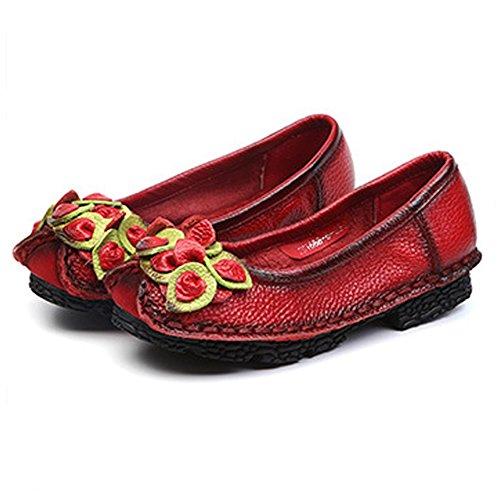 Eagsouni® Femme Vintage Handmade Printemps/Eté Fleur en Cuir Chaussures Mocassins Slip-on Rouge