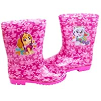 Girls Paw Patrol Skye & Everest Pink Wellington Boots Kids Snow Wellies Mid Calf Boots (4 UK Child)