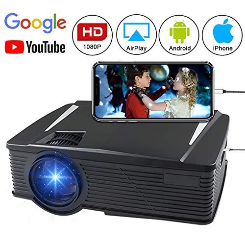 Projecteur vidéo sans Fil 2500 lumens 1080P Full HD WiFi Directement connecter avec Un téléphone Android Prise en Charge HDMI, VGA, AV, USB, SD