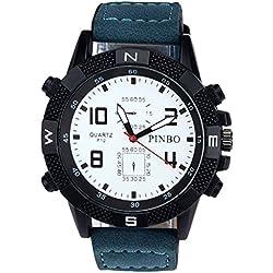 Men's Wrist Watch - PINBO Men's Large dial canvas Watch Band movement quartz Wrist Watch Blue Band+White Dial