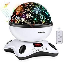 Moredig - Lámpara proyector estrellas, 360° rotación músic lampara + led pantalla + control remoto, 8 modos romántica luz de la noche, perfecto regalo para niños, cumpleaños, Navidad - Blanco y negro