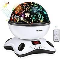 Moredig - Musique Projecteur Lampe Enfant, Led Leilleuse 360° Rotation avec Minuterie Affichage, 8 Différents Couleurs Modes pour les Enfants, les bébés, Cadeau d'anniversaire, Noël - Noir et blanc