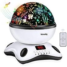 Moredig Lámpara proyector estrellas, 360 grados rotación músic lampara con temporizador led pantalla y control remoto, 8 modos romántica luz de la noche, ...