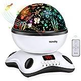 Moredig - Sternenhimmel projektor lampe, musik nachtlicht lampe 360° Rotation mit LED-Anzeige und fernbedienung, 12 beruhigende musik + 8 romantische licht, geschenk für kinder - Schwarz und weiß