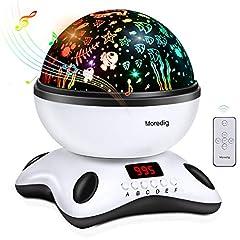 Idea Regalo - Moredig stella proiettore lampada, 360 gradi rotazione musicale proiettore lampada, 18 modalità romantica luce notturna, regalo per neonati, bambini, adulti, compleanno, Natale ecc - bianco e nero