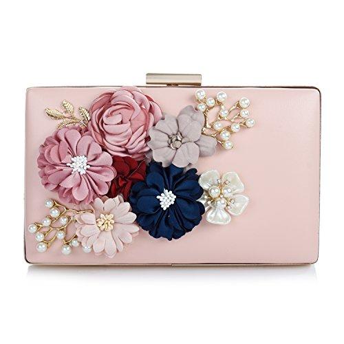 Audixius Hinreißend Damen Rechteckig Party Clutches Mit Blumen Dekoration,Pink (Satin Blume Perlen Clutch)