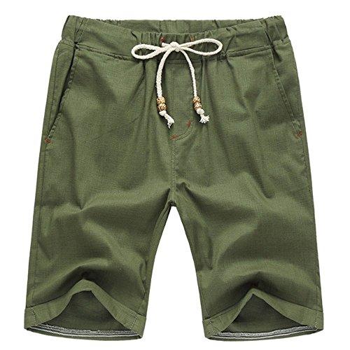 AIYINO Herren Leisure Fit Shorts in Verschiedenen Farben (Medium, Armeegrün)