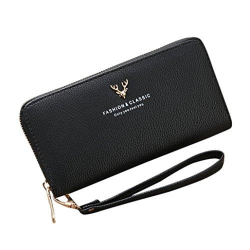 Yesmile portafoglio,donne ragazza lungo in tinta unita in pelle sintetica spalla della frizione della moda borsa a tracolla banconote, tasca con cerniera, in confezione regalo (nero)