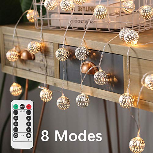 kkanischen silberne Eisen Ball Fairy String Lichter für Weihnachten, Party, Hochzeit Dekoration, 30 LED 16.4ft Batterie betrieben warme weiße Lichterketten (Ball, 30LED 8 Modus) ()