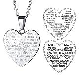 FaithHeart Amulett Mit Kette Herzkette mit Anhänger Gravur Bibel für Herren Männer Silber Jesus Mut Amulett Religiöse Schmuck