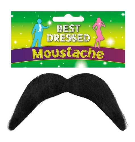 Black Fake Moustache - Disco, 118, Mexican, Mario - Fancy Dress Accessory by Henbrandt