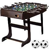 """Maxstore Tischfussball """"Belfast"""", klappbar, Farbe: Holzdekor dunkelbraun, nahtlos hochgezogene Spielfeldecken, inkl. 2 Bälle, Kicker Kickertisch Tischkicker"""