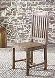 SAM® Stuhl Saber 6611 aus Akazie massiv in stone robust Esszimmerstuhl stonefarben naturbelassene Oberfläche Massivholz