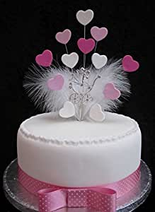 Landau avec strass pour décoration de gâteau Cœurs et Plumes de Marabou-Rose et blanc-idéal pour une Baby Shower, baptême, etc. Idéal pour gâteau de 20 cm