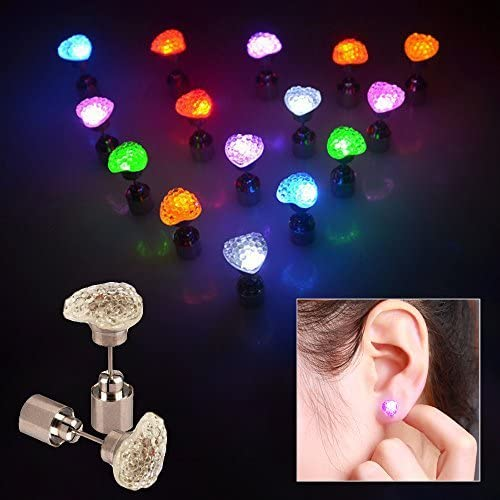 Toy Cubby Kids and and and Adult Flashing Heart Shaped LED Earrings - 4 pairs / 4 colors | Un Design Moderne