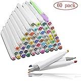 HLZDH Marker Brush Lote de 60 Colors Tinta pluma bolígrafo marcador Set con bolsa negra a base de pintura gráfica arte doble punta Rotuladores Alcohol cáscara del lápiz negro (60 Colors (blanco))