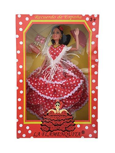 La Señorita Spanischer Puppe rot mit weißen Punkten Flamenco Kleid und Zubehör (Rot Mit Weißen Kleidern)