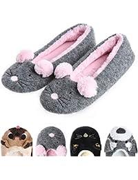 Zapatillas Bailarinas de la casa de Las Mujeres Cálido Suave Acogedor Gato /Perro/Rata