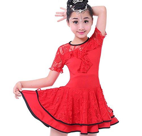 Kinder Latin Dance Kostüm Girls Spitzen Show Wettbewerb Kostüme gelb rot schwarz, 130, - Show Girl Kostüm