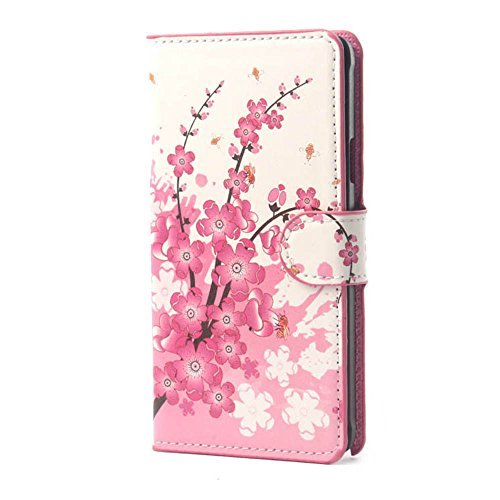 Yakamoz PU Leather Pink Sakura Flip Wallet Card Slots Stand Case Cover for Samsung Galaxy Grand Prime G530H with Free Screen Protector & Stylus Pen  available at amazon for Rs.2999