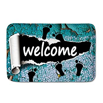 Amzbeauty Welcome Doormat For Entrance Way Personalized Print Decorative Funny Exterior Door Mat Non-slip Water Absorbent Footprint Rug 0