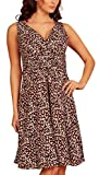 Fashion House V Neck Chiffon Cocktail Party Evening Dress Brown Leopard Print Size 14