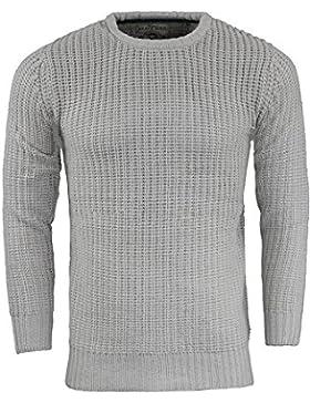 Brave Soul hombre Jersey por binario 'cuello redondo Jersey Knit Pullover acrílico S-XL
