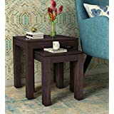 Woodstage Sheesham Wood Bedside Nesting Tables Set of 2 Stools for Living Room Furniture for Home (Walnut Finish)