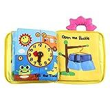 FREAHAP R Livre Bebe Tissu, Livre des Decouvertes éducatif Couleurs Vive Lavable Résistant à la Déchirure 17 x 24 x 2cm