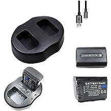 Heliomax 2x reemplazo batería NP FH50 NP-FH50 FH50 1500mah +Base de carga dual para Sony Alpha Cameras DSC-HX1 FH30 FH40 FH50 FH60