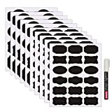 Nardo Visgo Tafel Etiketten-130 Wiederverwendbare abnehmbare Tafel Aufkleber mit 3MM White Chalk Marker für Etikettier Gläser, Kanister und organisieren Ihr Zuhause, Küche und Büro (Schwarz)
