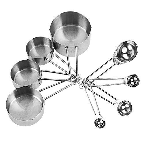 8/Set Edelstahl Messbecher & Löffel Kit für trockene und flüssige mearure Cup Set Kochen Backen Messung Kit Küche Gadget Backen Werkzeug (Cup-messung)