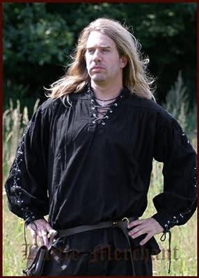 Mittelalter Hemd - Piratenhemd mit geschnürten Ärmeln, schwarz aus Baumwolle für Mittelalter, LARP, Wikinger von Battle Merchant - Outdoor Shop