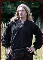 Mittelalter Hemd - Piratenhemd mit geschnürten Ärmeln, schwarz aus Baumwolle für Mittelalter, LARP, Wikinger