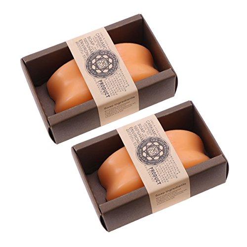 Lurrose Papaya-Seife Organisches handgemachtes ätherisches Öl Seifenstücke Feuchtigkeitsspendende Körperwaschseife 2 Stück (Orange) - Papaya Seife Bars