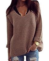 Damen Acrylic Knit Casual Herbst Long Sleeve Loose Strickjacken Pullover Sweater Top Grau