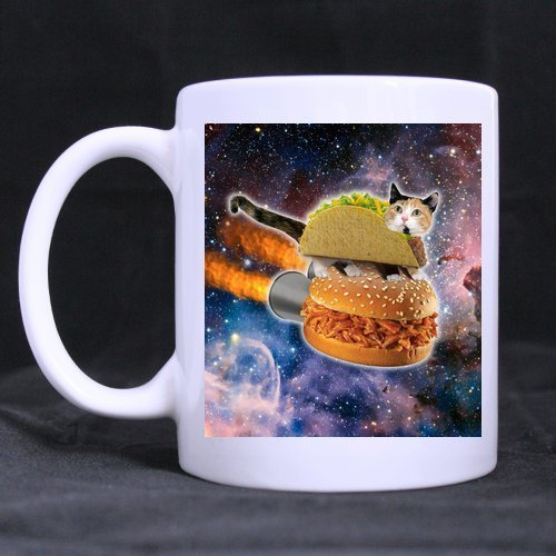 Halloween's Day/Easter Day Gifts Funny Hamburger Cat in Galaxy Space Tea or Coffee Cup 100% Ceramic 11-Ounce White Mug