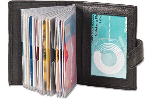 XXL 23 Fächer Kreditkartenetui Kartenetui Visitenkartenetui Schwarz Leder