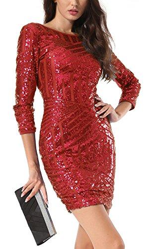 Yidarton Damen Paillettenkleid Langarm Rundhals Backless Partykleid Ballkleid Abend Minikleid Rot
