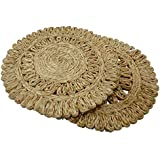AASA Dining Table Kitchen Cup Mats For Home Decoration Colorful Jute Mats For Dinner Table Tea Coaster, Multicolor, 50 Gram, Set Of 2Pcs, Pack Of 1