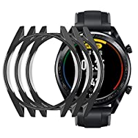 3PCS Ultra-Slim Electroplate Transparent PC Hard Case Cover for Huawei Watch GT(Black)