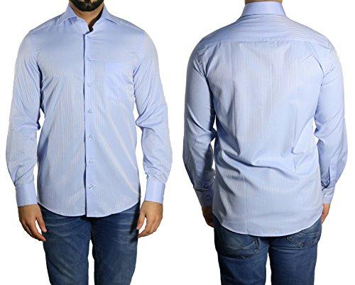 Schattenstreifen Herren Hemd Klassisch MUGA Mittelblau