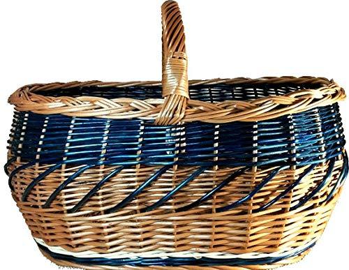 Alpenfell Einkaufskorb Blue aus Weide, Weidenkorb Bügelkorb Picknickkorb Pilzkorb, Gross mit Griff, Handarbeit, sehr stabil - 52 x 35 x 36cm (Große Weidenkorb Mit Griff)