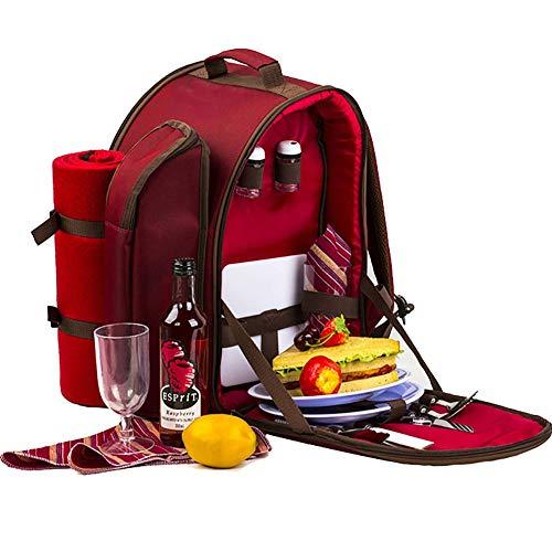 ZA&LA Picknicktasche, Rote Picknicktasche FüR 2 Personen, Korb Mit KüHltasche, EinschließLich Keramik Und Wolldecke (14 SäTze) -