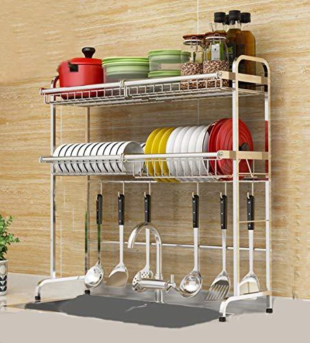 Geschirrtrockner über Spüle Abtropffläche aus Edelstahl für Küchenbedarf Aufbewahrung | Über Waschbecken Schüssel Rack Dish Rack Display Regal, Silber, 81cm