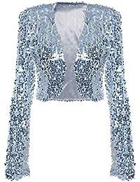 kayamiya pour Femme à Sequins Veste à Manches Longues Paillettes Boléro  Court 81fc0b6fbd57