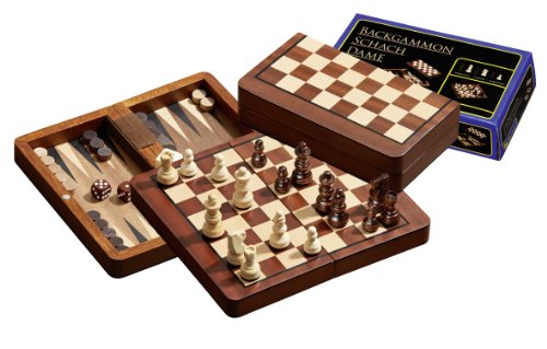 Philos 2517 - Reise-Schach-Backgammon-Dame-Set, magnetisch, Feld 18 mm, Königshöhe 37 mm